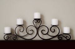 Five White Candles Royalty Free Stock Photos