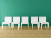 Five white chairs in the room Royalty Free Stock Images