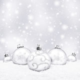 Five white christmas balls Stock Photography