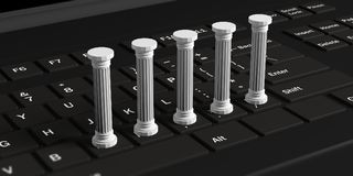 Five classical pillars on a black computer keyboard. 3d illustration. Five white classical pillars on a black computer keyboard. 3d illustration Stock Photography