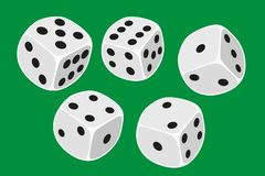 Five white dices size thrown in a craps game, yatzy or any kind of dice game against a green background - illustration in simple c. Lean design - stock stock illustration