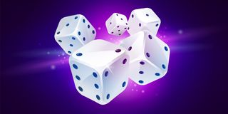 Free Five White Game Dices. Poker Gambling Royalty Free Stock Images - 119477059