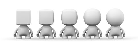 Five white human 3d people with heads shaped from spherical to cubical in front of a white background Stock Photos