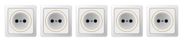 Five white sockets on a white background Raster 1 Royalty Free Stock Photography