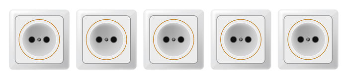 Five white sockets on a white background. Vector. EPS 10. Royalty Free Stock Images
