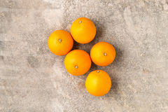 Five Whole Ripe Unpeeled Oranges Stock Photos