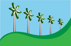 Five wind mills. Stylized illustration of a five wind mills Royalty Free Stock Photos