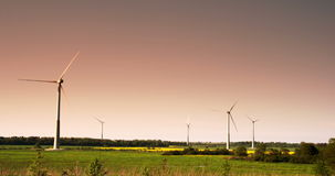 Five windmills not moving 4K FS700 Odyssey 7Q Royalty Free Stock Photos