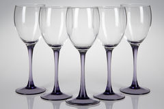 Five wine glasses Royalty Free Stock Photography