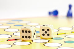 Five wins. The player diced five and won the game stock photo