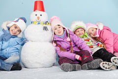 Five winter friends Royalty Free Stock Image