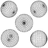 Five wire spheres Stock Photo