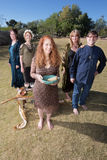 Five Witches with Smudge Stick Outdoors Royalty Free Stock Photography