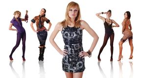 Five women in different clothes Royalty Free Stock Photo