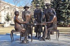 Five women. Statues near Manitoba Legislative Building Winnipeg City, Manitoba province, Canada. The photo was taken in November 2013 Royalty Free Stock Photography