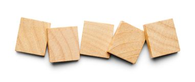 Five Wood Tiles. With Copy Space Isolated on a White Background Stock Image