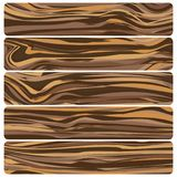Five wooden boards. Vector abstract wood texture. In flat design stock illustration