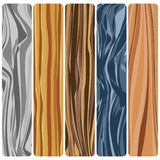 Five wooden boards. Vector abstract wood texture in flat design. n stock illustration