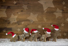 Five wooden handmade elk with red white santa hats on a backgrou Royalty Free Stock Photos