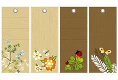 Five wooden labels, vector Stock Photos