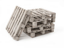 Five Wooden Pallets Isolated on White Background Royalty Free Stock Photos
