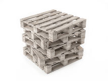 Five Wooden Pallets Isolated on White Background Stock Photography