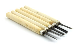 Five woodworking chisels Royalty Free Stock Photo