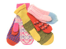 Five wool mittens Royalty Free Stock Images