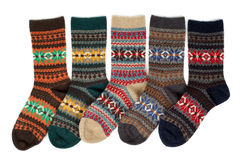 Five of wool socks with a pattern Stock Image