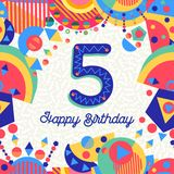 Five 5 year birthday party greeting card number Stock Photos