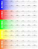 Five-Year Calendar 2010-2014 -. 5-Year Calendar, 2010 through 2014 on colorful background, Sunday start vector illustration