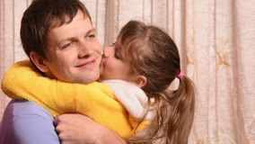 Five-year daughter hugged and kissed pope stock footage