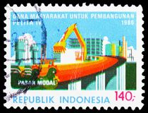 Five Year Development Plan, serie, circa 1986. MOSCOW, RUSSIA - FEBRUARY 21, 2019: A stamp printed in Indonesia shows Five Year Development Plan, serie, circa royalty free stock photography