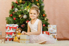 The five-year gift to the girl happy Stock Photo
