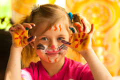 Five-year girl drawing paint Royalty Free Stock Photo