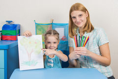 Five-year girl showing on the picture, my mother keeps in the hands of colored pencils Royalty Free Stock Images