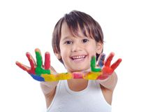 Five year old boy with hands painted Stock Photo