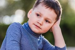 Five year old boy. Portrait of a cute five-year-old boy close royalty free stock images