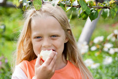Five-year-old girl eating apple. Happy little girl holding apple in her hands stock photo