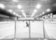 Little girl behind mesh hockey net in a hockey rink. A five year old girl in hockey equipment in front of hockey net taking a shot on goal at an indoor rink in Stock Photos