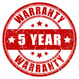 Five year warranty. Stamp, vector illustration Stock Photography