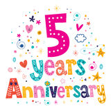 Five years anniversary celebration decorative lettering text design Royalty Free Stock Photography