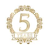 Five years anniversary celebration golden vintage logotype. 5th anniversary gold label in floral wreath with a ribbon.  vector illustration