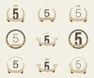 Five years anniversary celebration logotype. 5th anniversary logo collection. Stock Image
