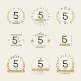 Five years anniversary celebration logotype. 5th anniversary logo collection. Royalty Free Stock Photography