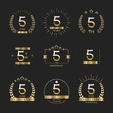 Five years anniversary celebration logotype. 5th anniversary logo collection. Vector Stock Photography