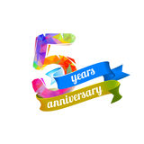 5 five years anniversary. Vector triangular digits royalty free illustration