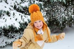 Five years girl near snow-covered fir tree. Five year girl near snow-covered fir tree Stock Photos