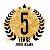 Five years golden anniversary sign Royalty Free Stock Photo