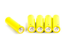 Five yellow alkaline batteries Royalty Free Stock Image